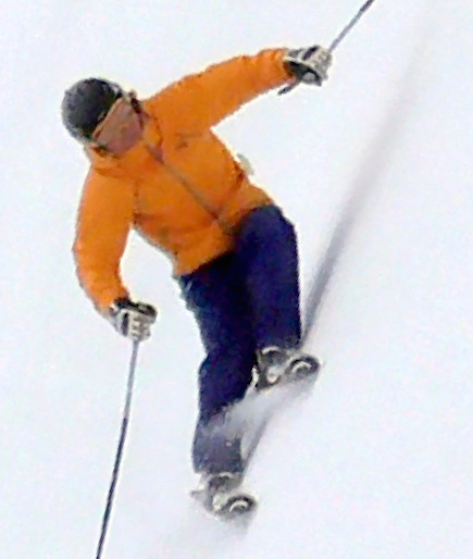 Skiing - i.e. circular motion with a narrow stance