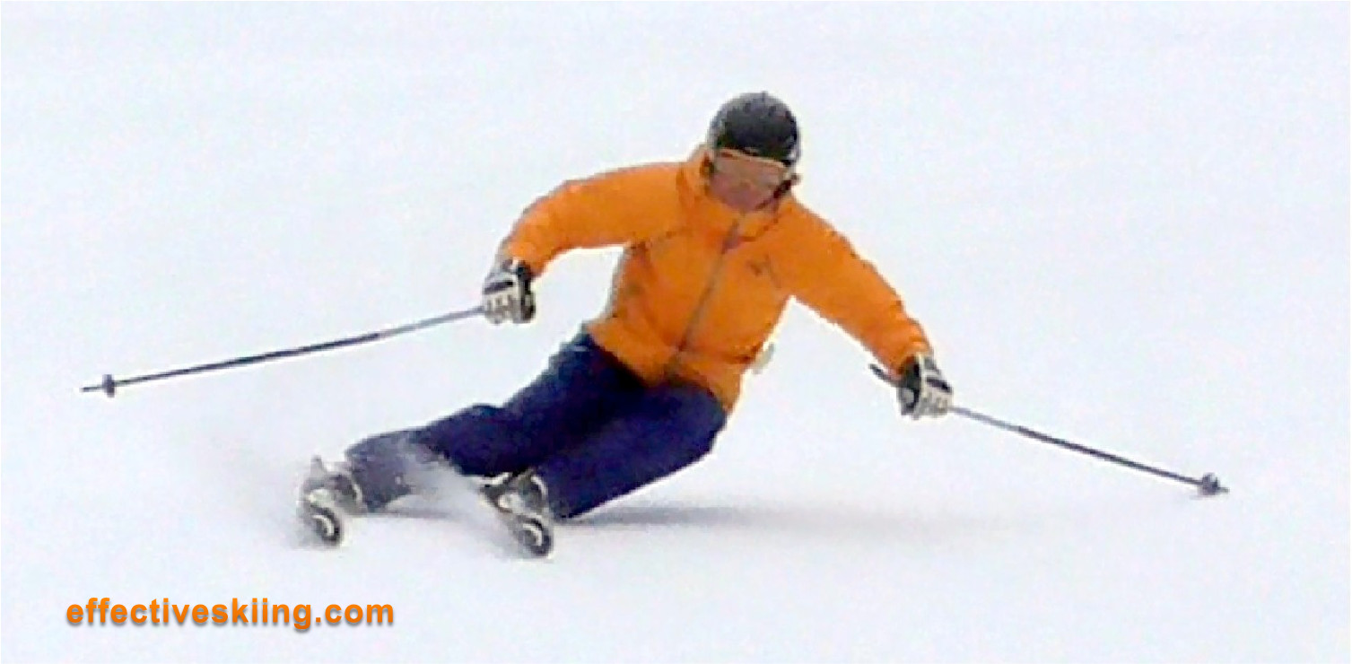 Controlling the speed by bending the ski into tight turns