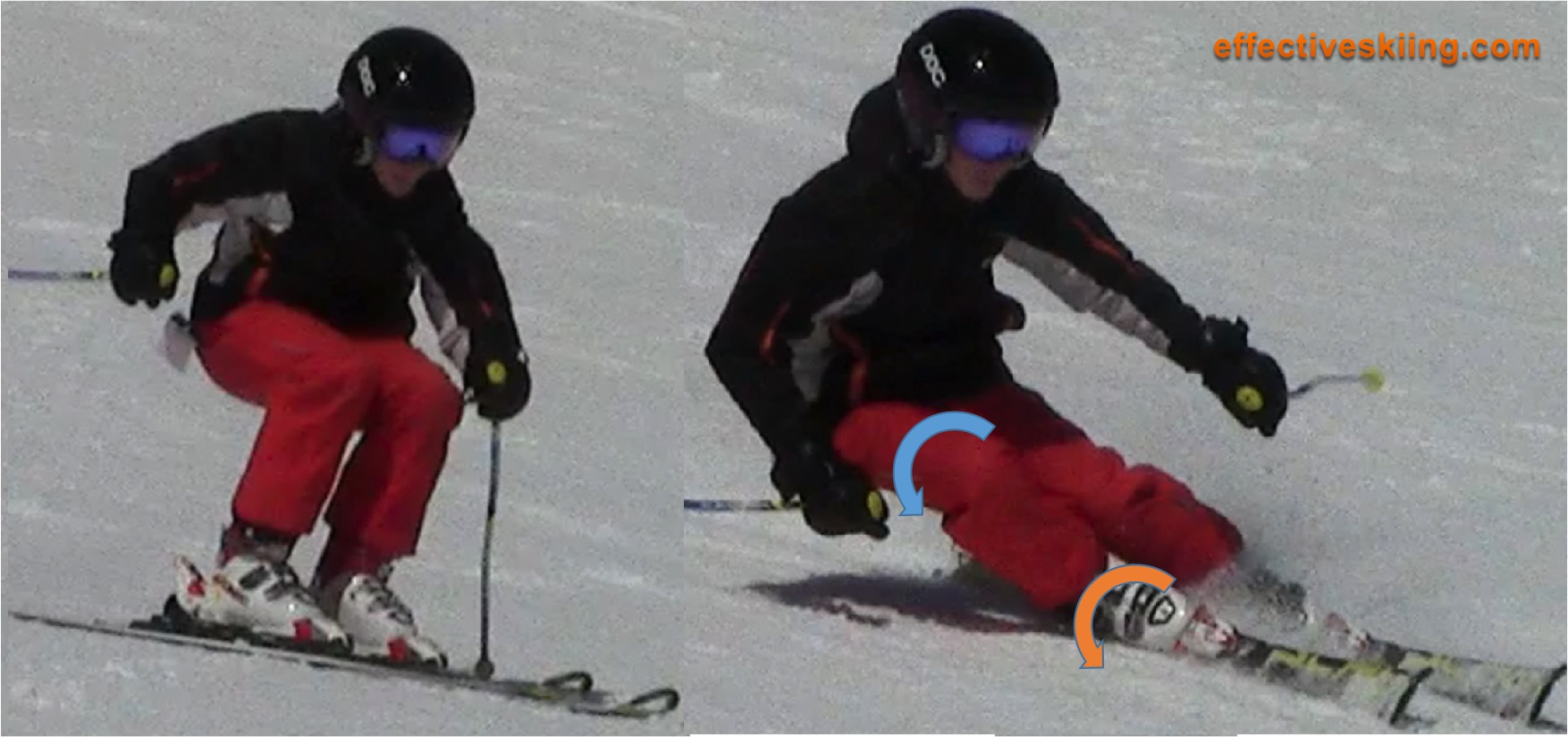 Anatomical terms of motion for skiing